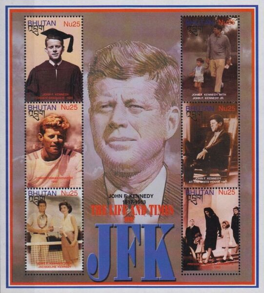 US President JFK JOHN FITZGERALD KENNEDY 6 Value MNH Stamp Sheet 2002 Bhutan