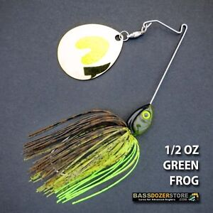 Bassdozer-spinnerbaits-SHORT-ARM-THUMPER-1-2-oz-GREEN-FROG-spinner-bait-lures