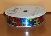 Autism Awareness Jigsaw Puzzle Pieces Bright Color Ribbon 5/8 Satin 12 Feet