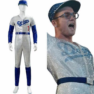 Elton John Dodgers Baseball Uniform Cosplay Costume Sequin Jumpsuit