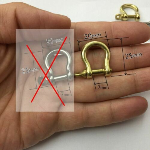 5//10//20pcs Solid Brass Bow Shackle Joint Connect D Ring Key Chain Fastener Clip