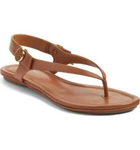 f6c1937f827a TORY BURCH ROYAL TAN MINNIE TRAVEL SANDAL LEATHER FLAT LOGO TWO WAY ...