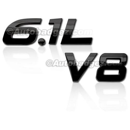 BRAND NEW 3D Adhesive Badge Emblem Rear Side Fender 6.1L V8 GLOSS BLACK 1IT 1