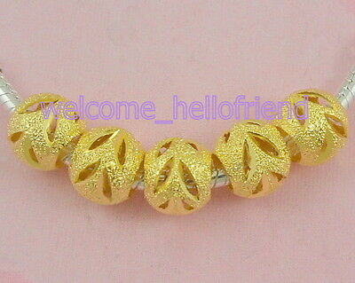 100 Golden Plated Carved Stardust Beads Fit European Charm Bracelet ST02