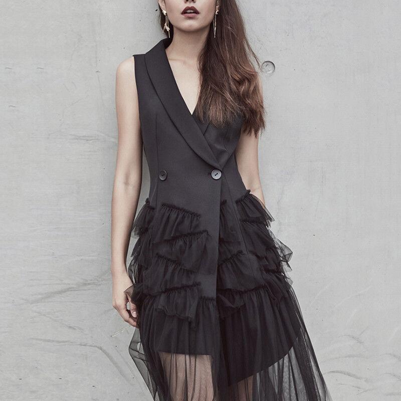 mode Femme Sans Manches Soirée OL Bureau Parti dentelle Slim européen Robe Mini