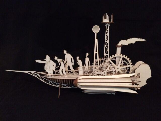 Laser cut träen Jules Vern Sky Sailer Steampunk, modelllllerler  Pussel Kit
