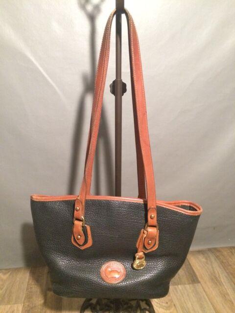 Dooney Bourke Pebble Leather Hobo Shoulder Bag Black Brown