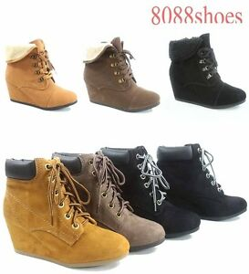Women's Cuff Round Toe Oxford Low Wedge Lace Up Booties Shoes ...