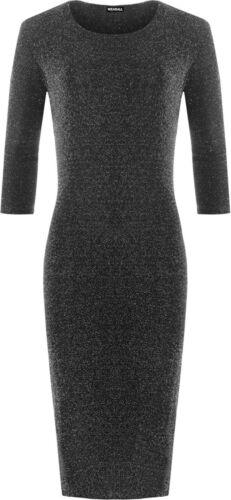 Womens Plus Size 3//4 Sleeve Sparkle Lined Lurex Ladies Party Midi Dress 14-28