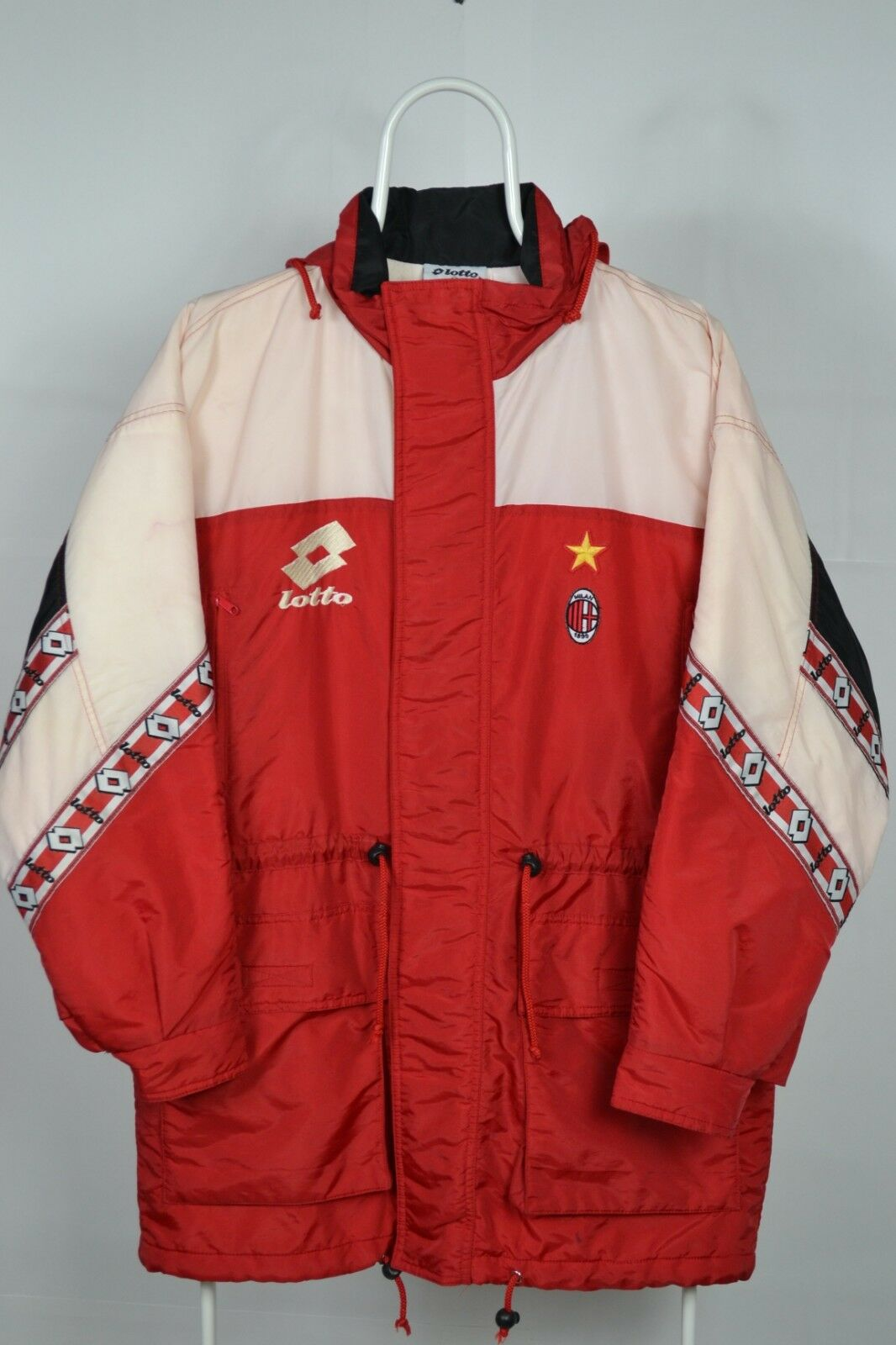 Vintage AC Milan football Soccer winter jacket  lotto lotto lotto Made in  97ca14