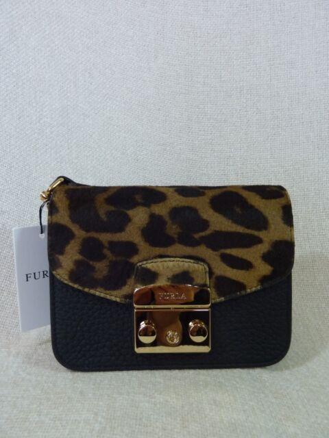 7b3f3edc8e91 NWT FURLA Black Leather Leopard Print Fur Mini Metropolis Cross Body Bag   498
