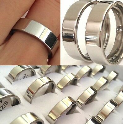 Classic 316L Stainless Steel Plain Ring Polished 6mm 4mm Engagement Lovers