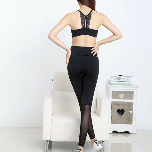Yoga Workout Gym Women High Waist Running Pants Fitness Elastic Legging Black