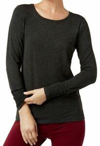 Alfani-Womens-Knit-Top-Coal-Melange-Gray-Size-XL-Ruched-Cuff-Jersey-39-112