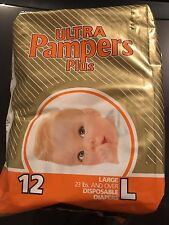 Vintage Pampers Size L Diapers Plastic Backed From The 1980's One Diaper