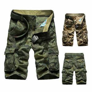 Mens-Cargo-Shorts-Long-Crosshatch-Military-Combat-Camo-Army-Knee-Length-Pants