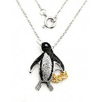 Wish Rings Sterling Silver Penguin Pendant With Necklace