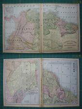 South American Countries Brazil Vintage Original 1899 Cram's World Atlas Map Lot