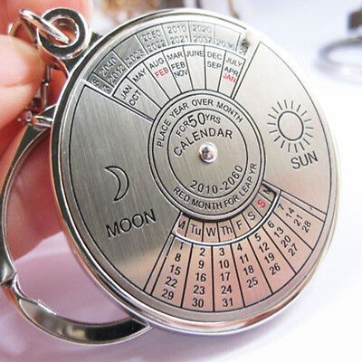 50 years perpetual calendar Keyring keyfob Unique Compass Metal KeyChain Ring F