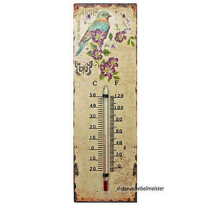 Landhausstil Thermometer Garten Außenthermometer Metall Nostalgie Look Vogel