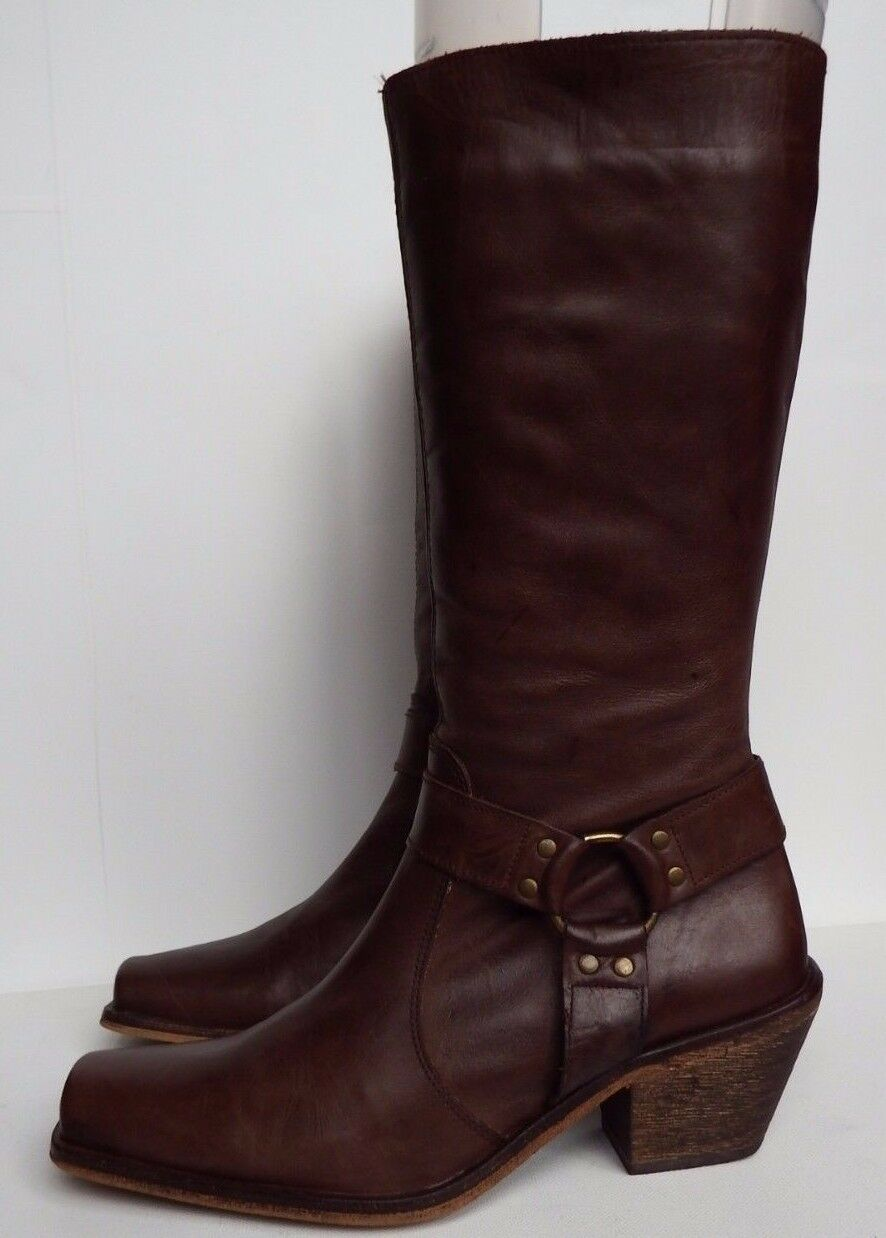 Ravel 3   36 marron leather biker western style calf boost Square Zip Cuban heel
