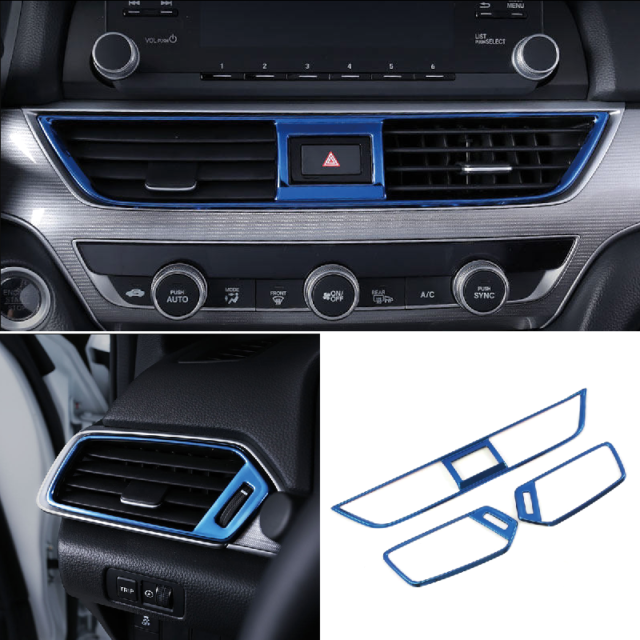 For Honda Accord 2018 Carbon Interior Black Console Middle Air Vent Outlet Trim