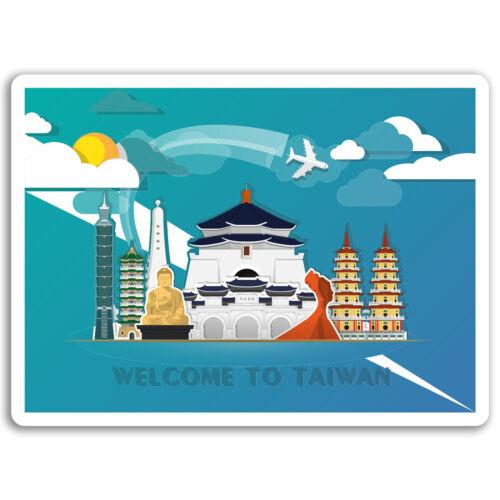 2 x 10 cm Taiwan Vinyle Autocollants Asie-Fun Travel autocollant ordinateur portable bagages #17284