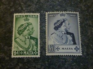 MALTA-POSTAGE-STAMPS-SG249-amp-250-SILVER-WEDDING-PAIR-UN-MOUNTED-MINT