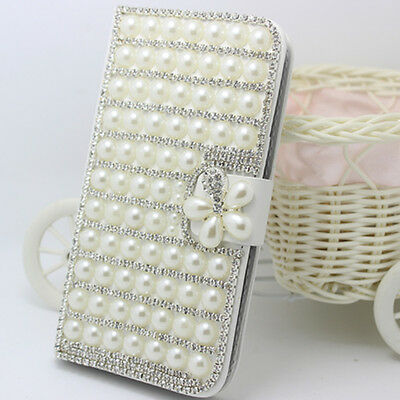 Handmade Diamond Pearls flower PU leather wallet flip slot Case Cover for Nokia