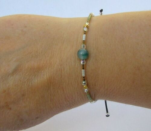 bracelet réglable cordon femme perles miyuki délicas /& agate