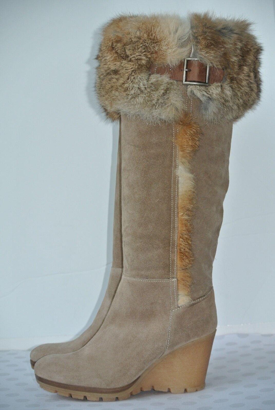 Nouveau Fabianelli Italie femme SZ 36 6 marron clair en daim fourrure de lapin hautes bottes hautes