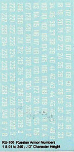 RU-106 - WWII Russian Armour Numbers - 1/100-1/76 Decals