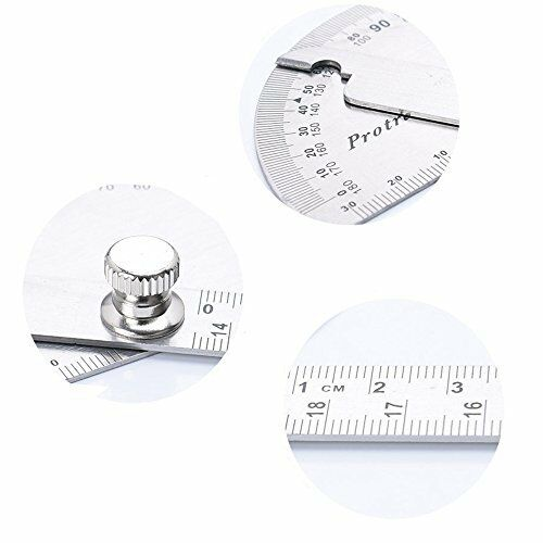 HanYan Angle Finder Both Arms Protractor 0-180 Degrees Stainless Steel Ruler ...