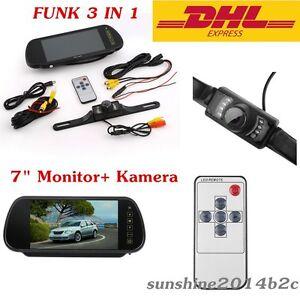 Funk-Auto-Nummernschi-Rueckfahrkamera170-4IR-LED-Nachtsicht-7-034-Monitor-Spiegel-L