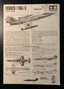 Tamiya Lockheed F-104J/G Starfighter - Model Kit INSTRUCTIONS - 1970s