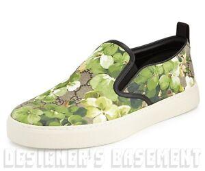 f3674c90c6c GUCCI men 10G khaki BLOOMS GG Supreme Canvas DUBLIN slip on sneakers ...