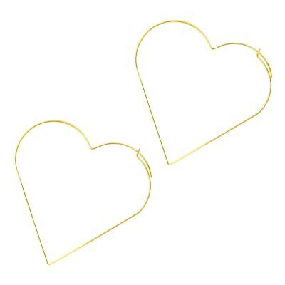 Big Heart Exaggerated Hollow Minimal Novelty Punk Style Silver Color Earring YU
