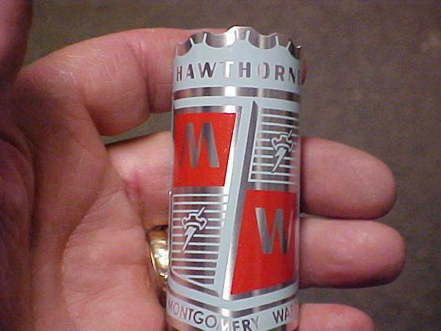 Hawthorne Montgomery Wards Bicicleta insignia emblema Mid 1950s - 1960s Pantalla Impreso