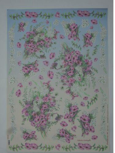 thème:guirlande de fleur 68X48cm Papier pour découpage technique serviette