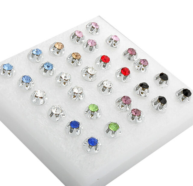 Wholesale A Set Of 15x Pairs Earrings Sparkly Crystal Silver Stud For Women Girl