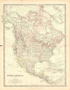 Details about 1880 ANTIQUE MAP - NORTH AMERICA, CENTRAL AMERICA, WEST INDIES