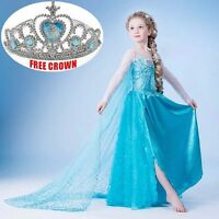 UK Kids Girls Dress Disney Elsa Frozen dress costume Princess Anna party Dresses