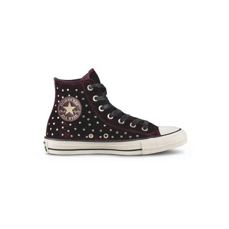 CONVERSE ALL STAR ALTA IN VELLUTO BORDEAUX Borchie dorate