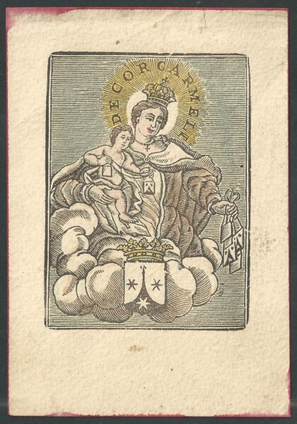 Estampa Antigua De La Virgen Del Carmen Andachtsbild Santino Holy Card Santini