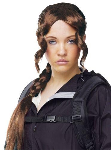 Hunger Games Katniss Everdeen District Femmes Adulte Marron Perruque Tresse
