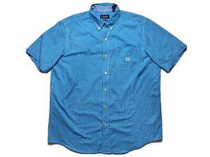 Chaps-by-Ralph-Lauren-Mens-Shirt-Size-L-Short-Sleeve-Button-Up-Blue-White-Check