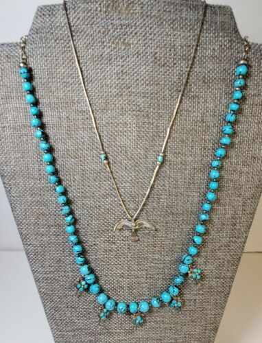 Turquoise Necklace Beaded Sterling Spiderweb Bird