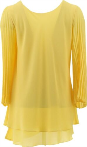 Laurie Felt Woven Reversible Pleated Slv Blouse Sunshine Yellow M NEW A379346