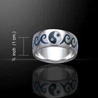 Yin Yang Waves .925 Sterling Silver Ring By Peter Stone