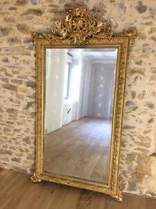 Grand miroir en bois et stuc dor napoleon iii ebay - Miroir ovale sur pied ...